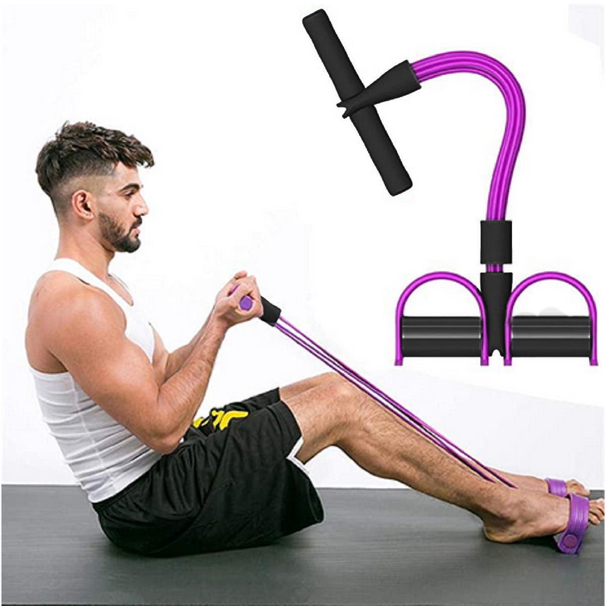 New Tummy Trainer Expander Pedal Resistance Bands Elastic Pull Rope Home Fitness
