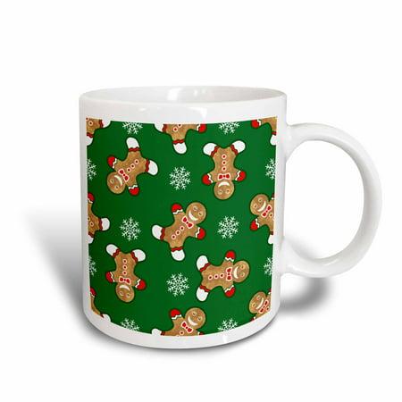 Christmas Snowflake Mug (3dRose Cheerful Christmas Gingerbread Men and Snowflakes, Ceramic Mug, 11-ounce )