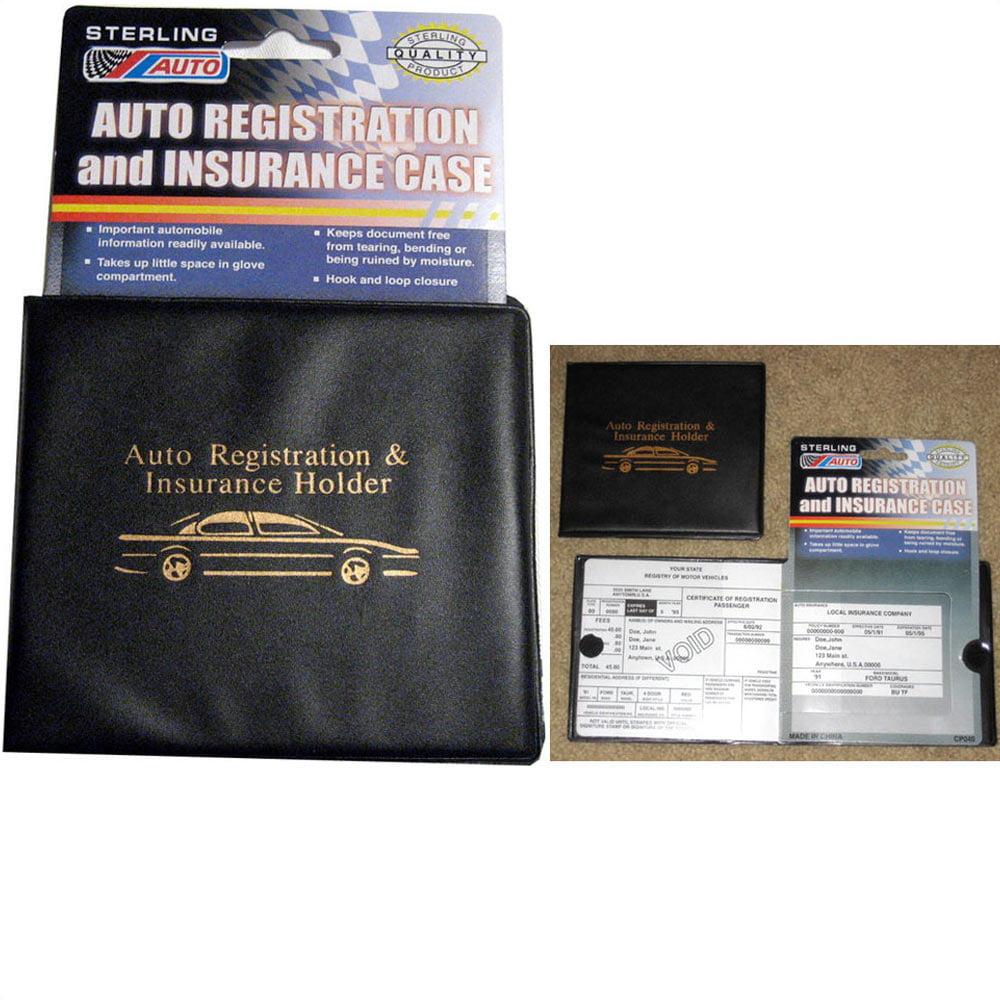 6 Pc Auto Car Truck Registration Insurance Document Holder Wallet Black Case ID