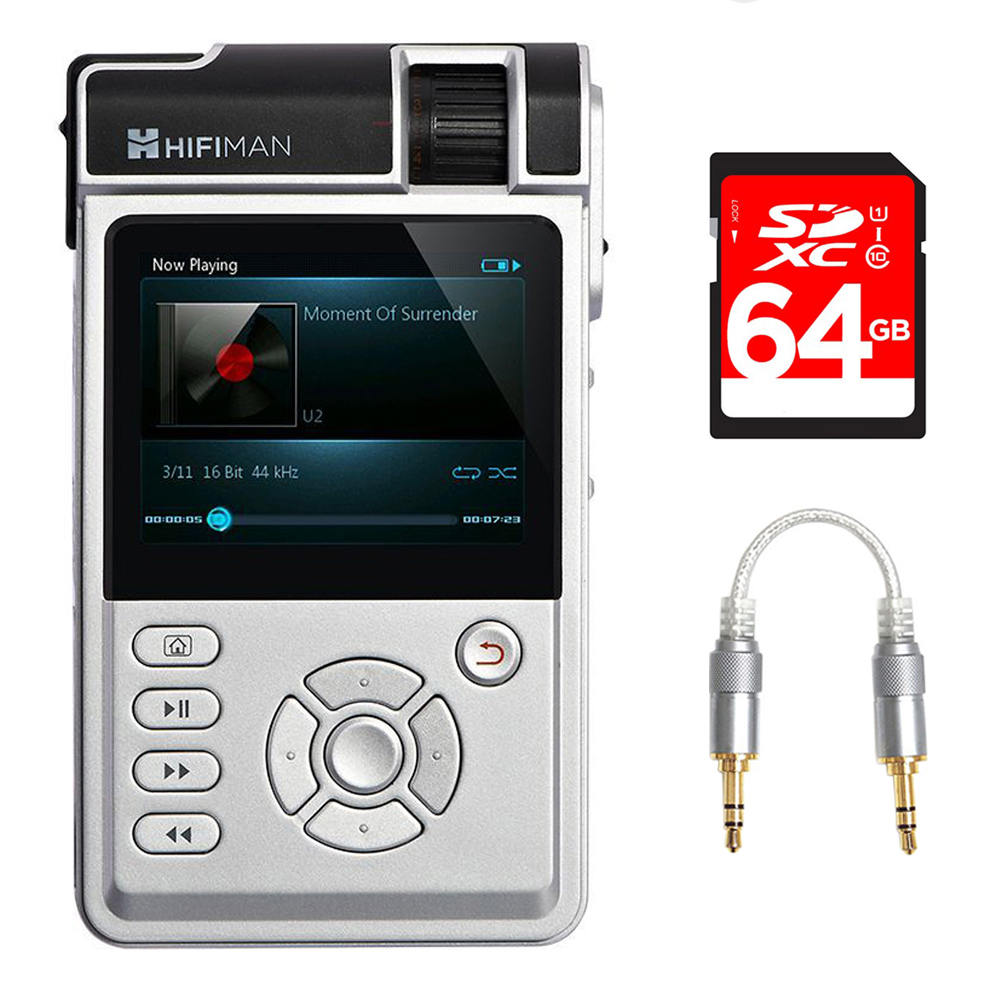 HIFIMAN High-Fidelity Portable Music Player with Classic & Balanced Amp Cards (HIFIMANHM650) + 64GB Bundle Includes, 64GB SDXC High Speed Memory Card & FiiO 3.5mm-to-3.5mm Straight Stereo Audio Cable