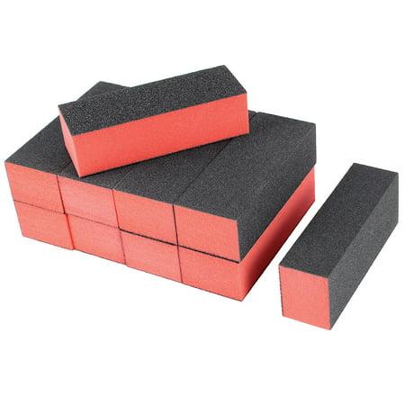Unique Bargains Nail File Buffer 10 Pcs 4 Way Shine Edge Removal Polish Manicure Tool Black Red