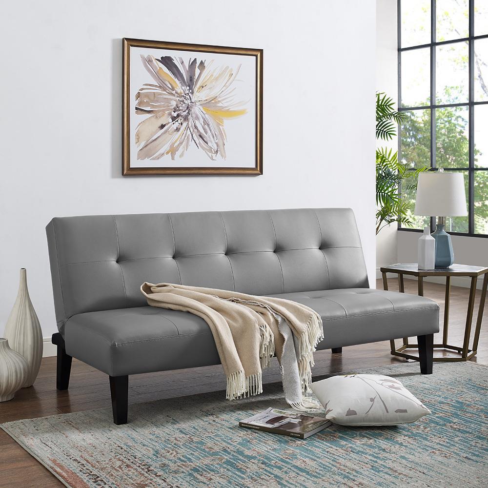 Naomi Home Button Tufted Futon Sofa Bed-Color:Black