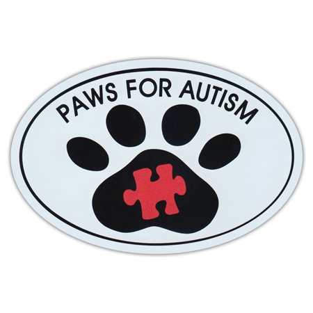 Oval Car Magnet - Paws For Autism - Dog Walk/Run Support Event - Magnetic Bumper Sticker - Autism Stickers