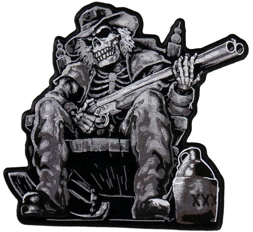 """Moonshine Skeleton, High Thread Embroidered Iron-on / Saw-on Rayon PATCH - 9"""" X 9"""", Exceptional Quality"""