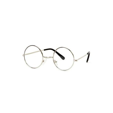 Circular Frame Clear Lens Silver Frame Sunglasses w/ Free Microfiber Case - image 2 de 2