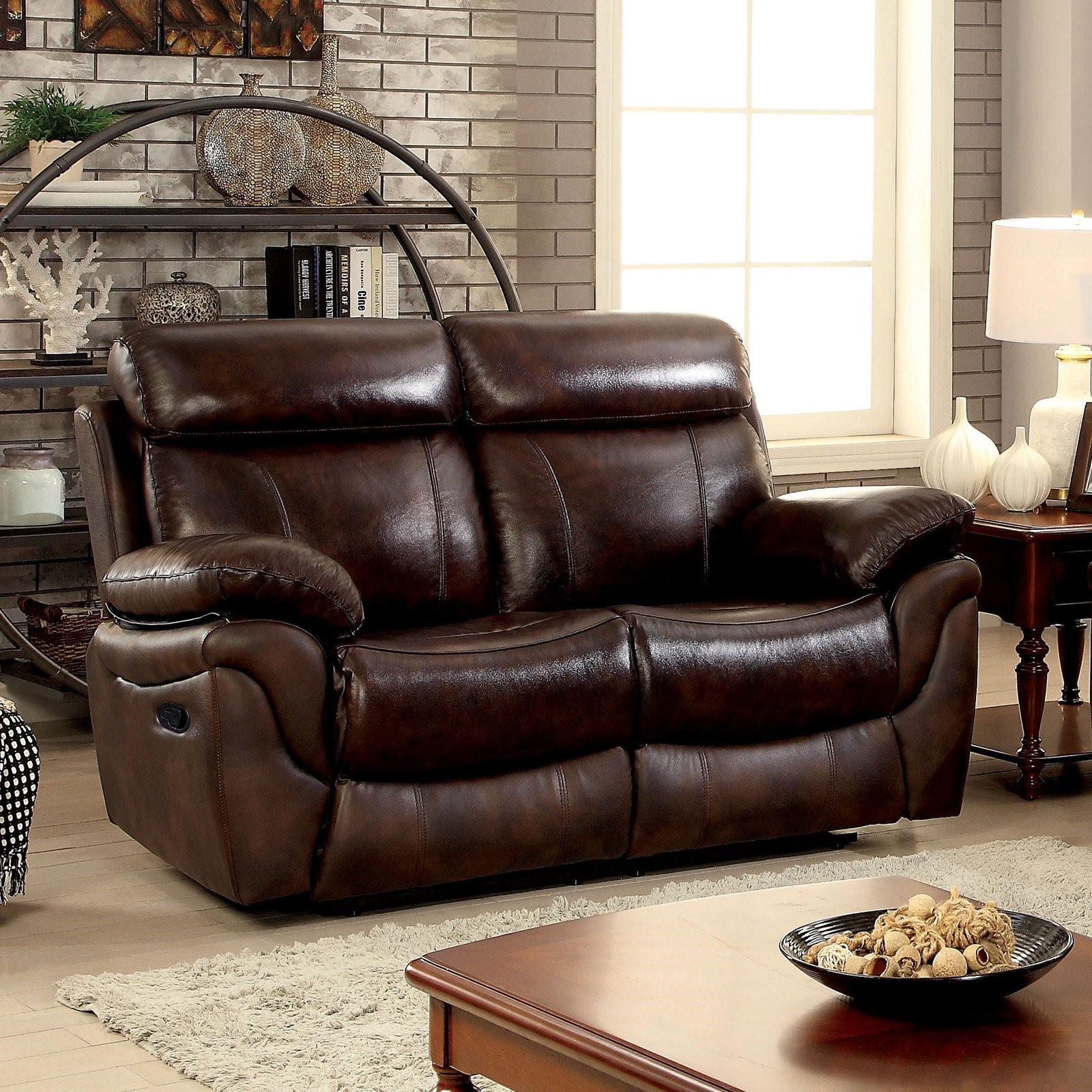 Furniture of America Benson Transitional Style Leatherette Recliner Loveseat