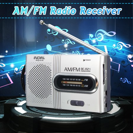 INDIN Mini Portable Pocket Stereo AM/FM Telescopic Antenna Radio Receiver Speaker Music Player World