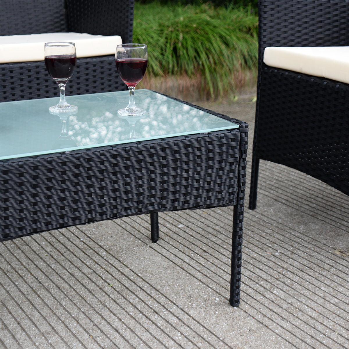 Outdoor Rattan costway 4 pc outdoor rattan furniture set loveseat sofa cushioned