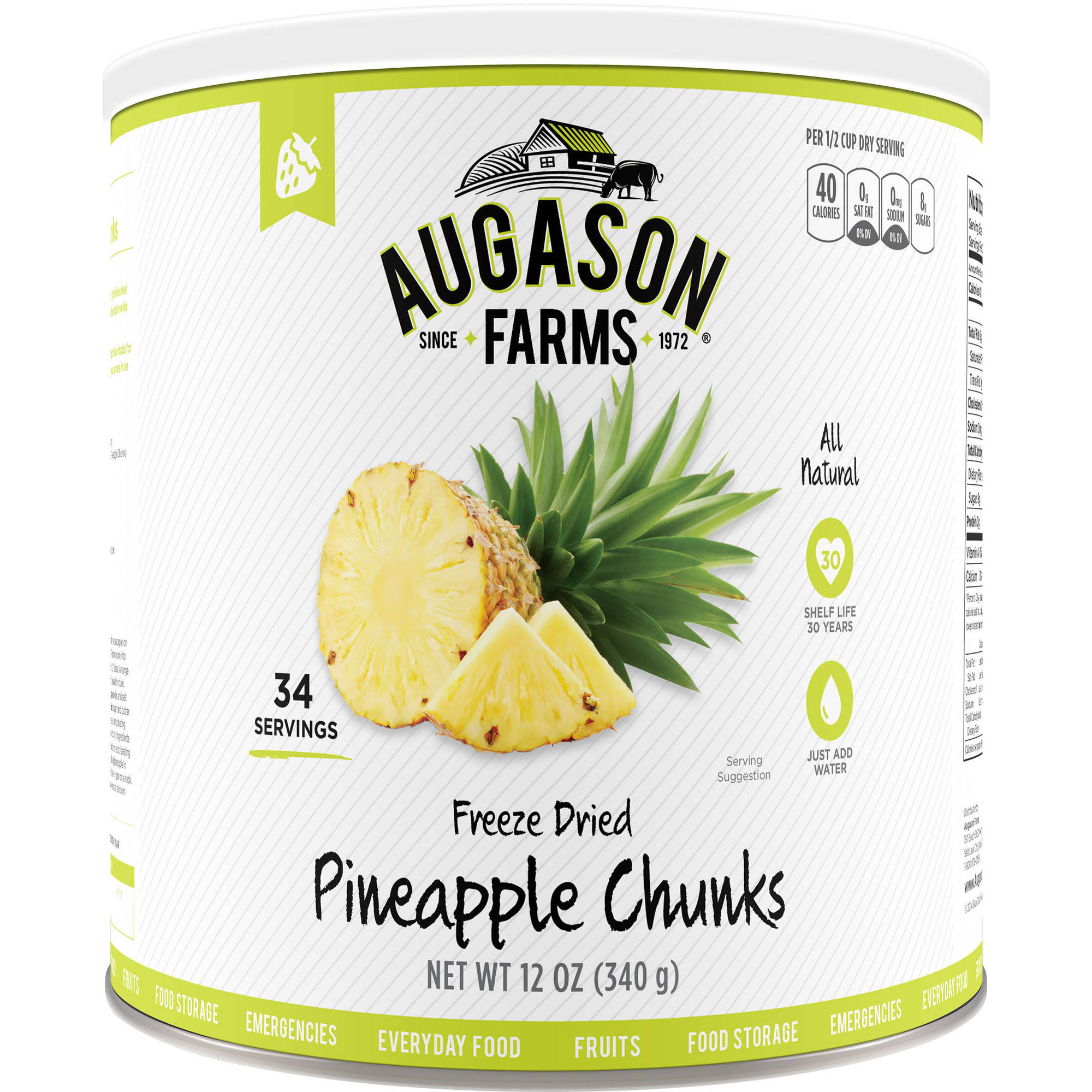 Augason Farms Emergency Food Freeze-Dried Pineapple Chunks, 12 oz