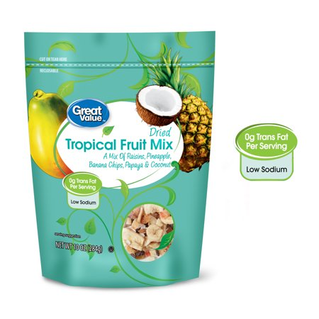 (4 Pack) Great Value Dried Tropical Fruit Mix, 10 oz