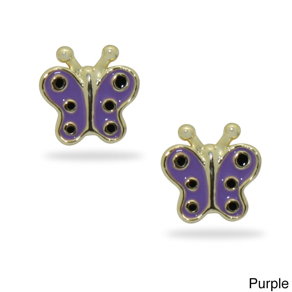 DIAMANTE GROUP Junior Jewels 18k Gold Overlay Children's Colored Enamel Butterfly Stud Earrings