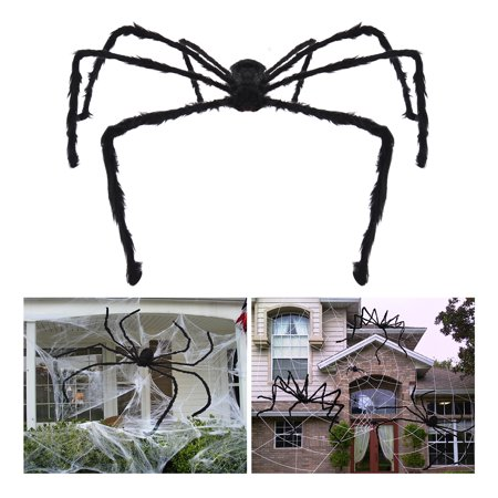 UNOMOR Halloween Plush Spider Creepy Giant Spider Toy 228 cm with Glowing Fake Eyes (Black) (Fake Black Eye Halloween)