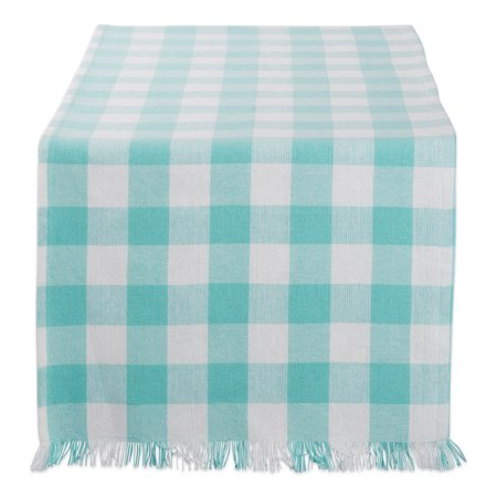DII Aqua Heavyweight Check Fringed Table Runner, 72 x 14