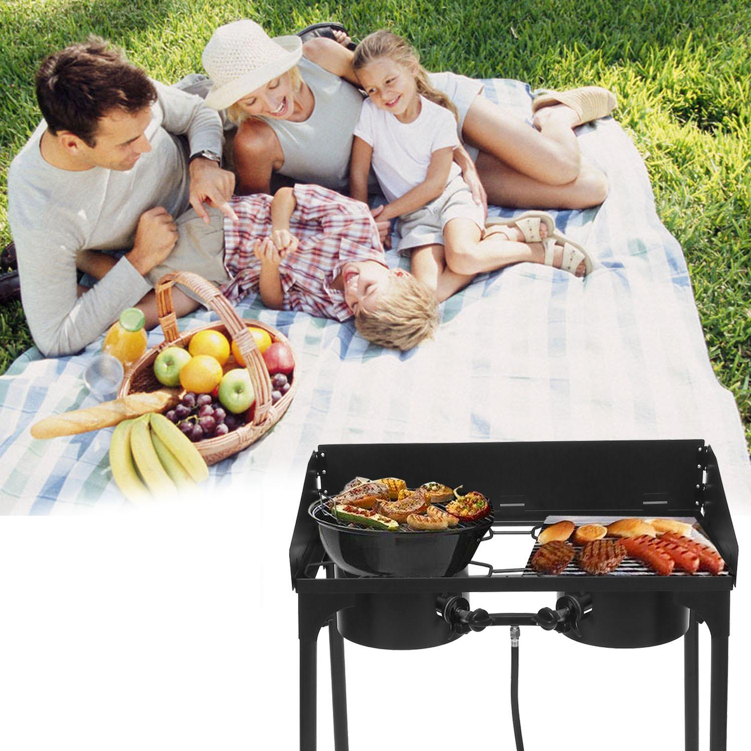 Outdoor Camping Stoves Portable Grills With Adjustable Detachable Legs 2-Burners  WCYE