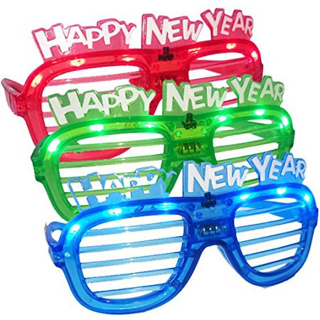 Happy New Year Shutter Shade Glasses with Light (12 pairs), Includes 12 pairs of glasses By Home Bay Trading Corp. (Happy New Year Glasses)