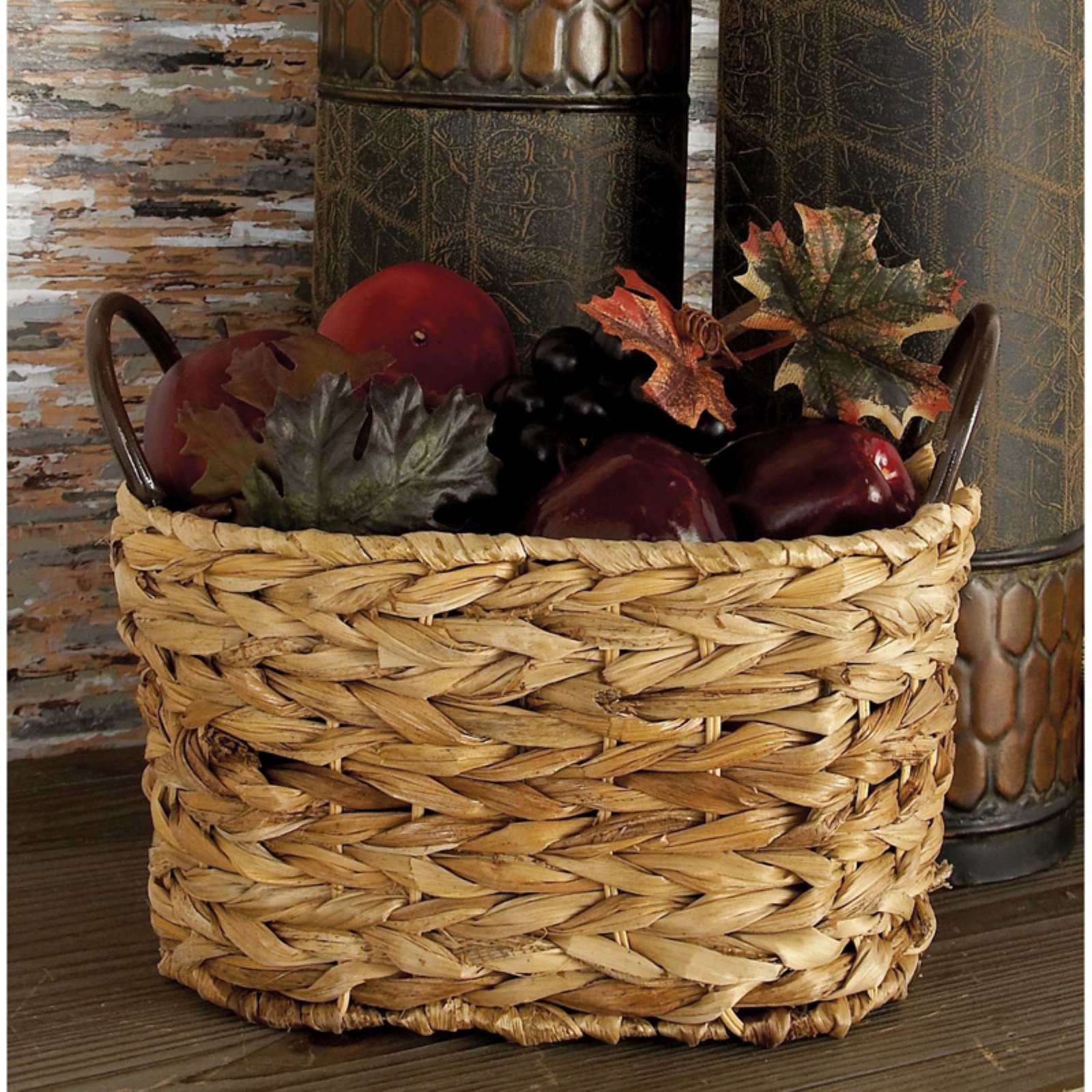 Decmode Metal Wicker Basket, Set of 3, Multi Color