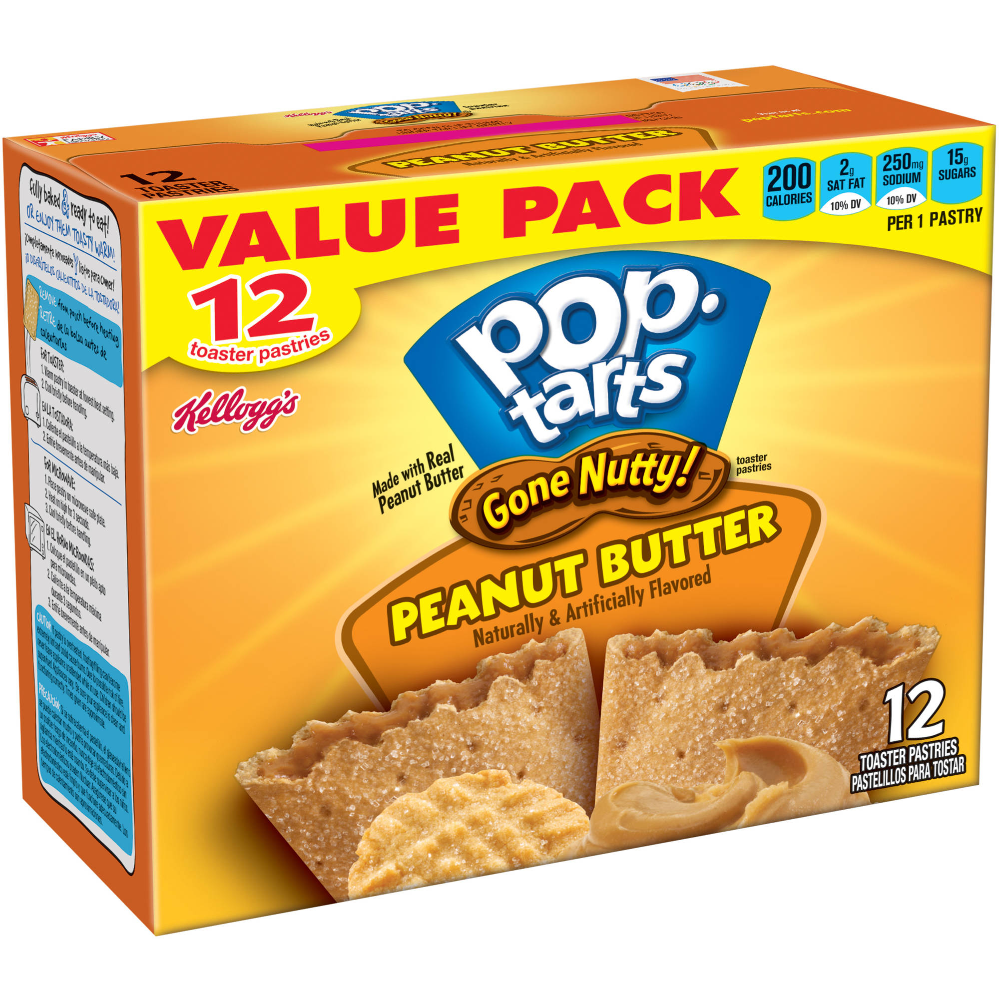 Kellogg's Pop-Tarts Gone Nutty! Peanut Butter Toaster Pastries, 12 count, 21.1 oz