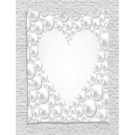 Pearls decoration wall hanging tapestry frame with pearls in heart shape stylish accessories - Wall decoration with pearls ...