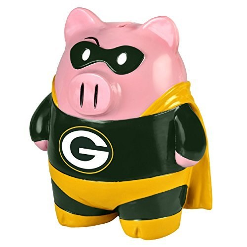 """Green Bay Packers 8"""" Large Stand Up Superhero Piggy Bank by Forever Collectibles"""