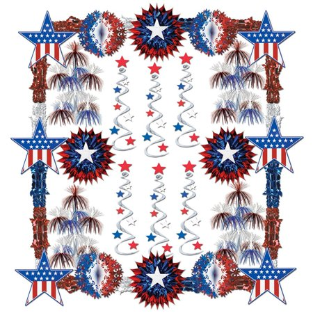 Blue White Swirl (28-Piece Patriot Red, White and Blue Stars, Stripes and Swirls Decorating Kit)