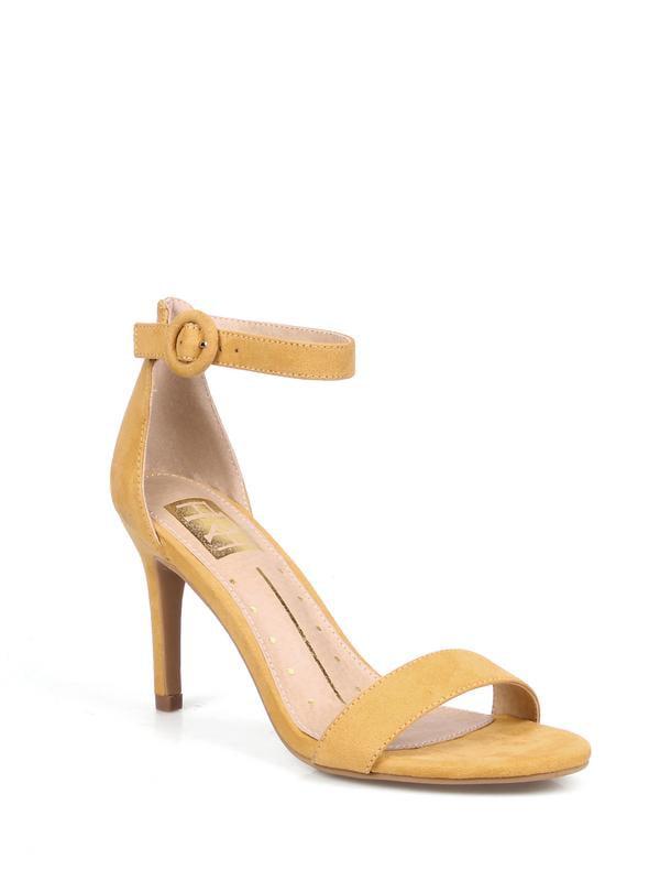 Mark and Maddux Round Buckle Women's Stiletto Heel Sandals in Mustard
