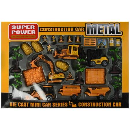 Construction Toy Construction Vehicle Die Cast Car Play Set w/ 4 Vehicles, 3 Construction Worker Figures, & - Construction Set Toys
