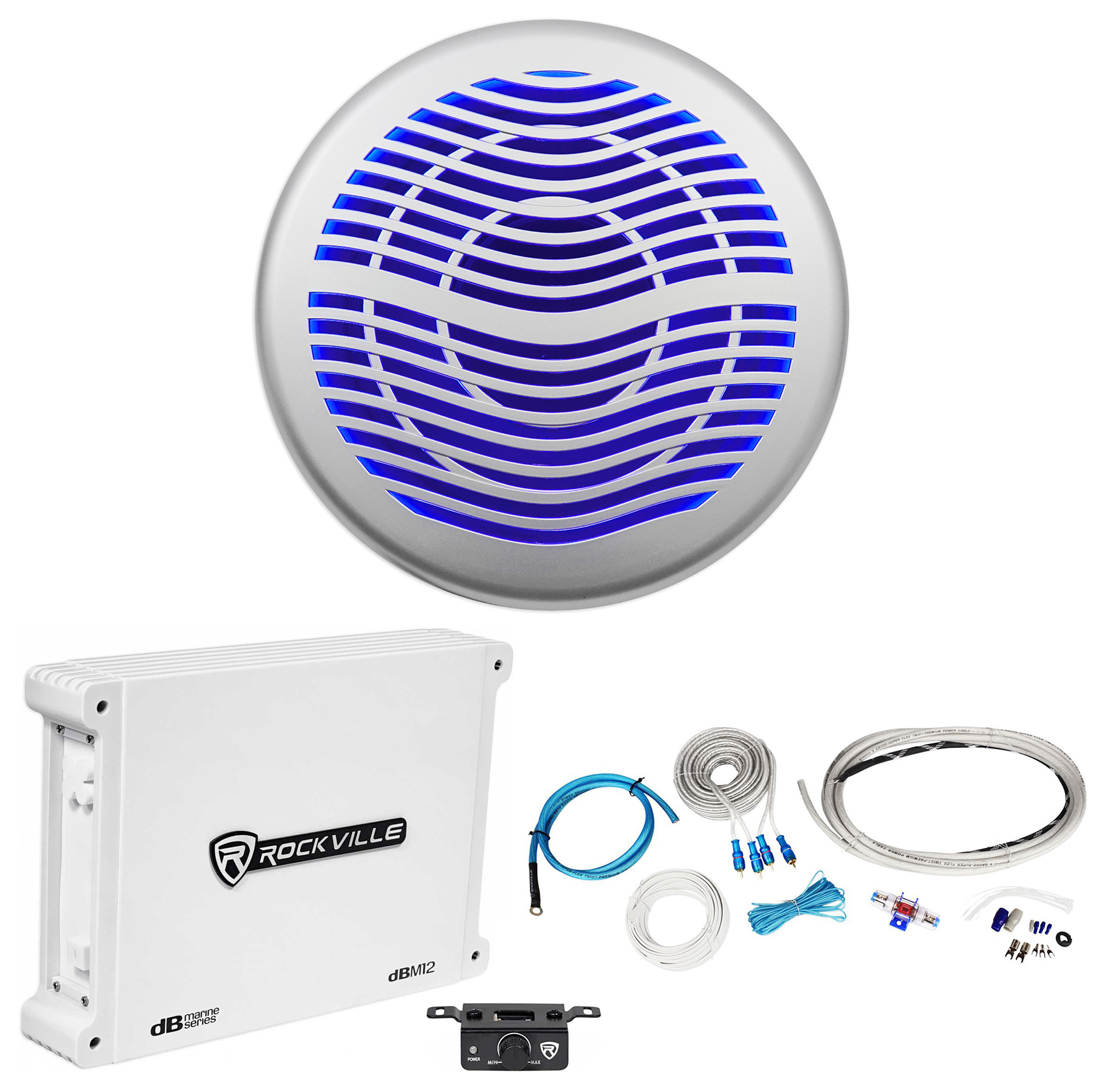 "Rockville MS12LS 12"" 2800w Silver Marine/Boat 10"" LED Subwoofer+Mono Amp+Wires"
