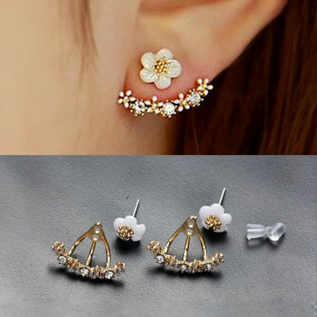 Sexy Sparkles Ear Jacket Stud Earrings Back Ear Cuffs Stud Earring ()