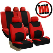 FH Group Light & Breezy Red and Black Auto Accessories Set, with Steering Wheel Cover and Seat Belt Pads, Airbag Compatible and Split Bench Full Set Seat Covers