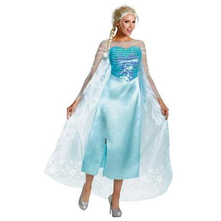 Morris Costumes DG82832E Frozen Elsa Adult Deluxe 12-14 - Elsa Costume Sale