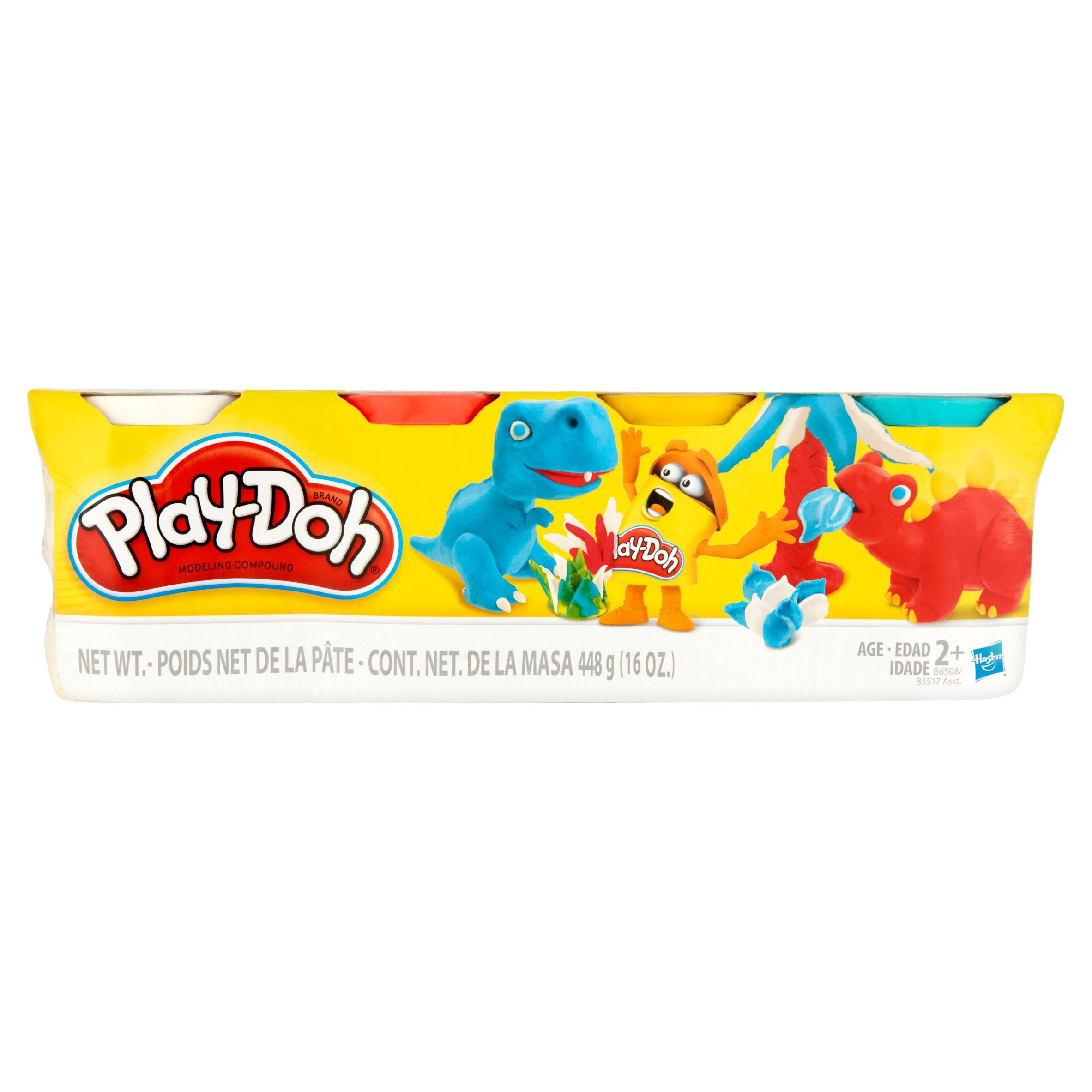 Play-Doh 4 Pack of Classic Colors: White, Red, Yellow & Blue, 16 oz