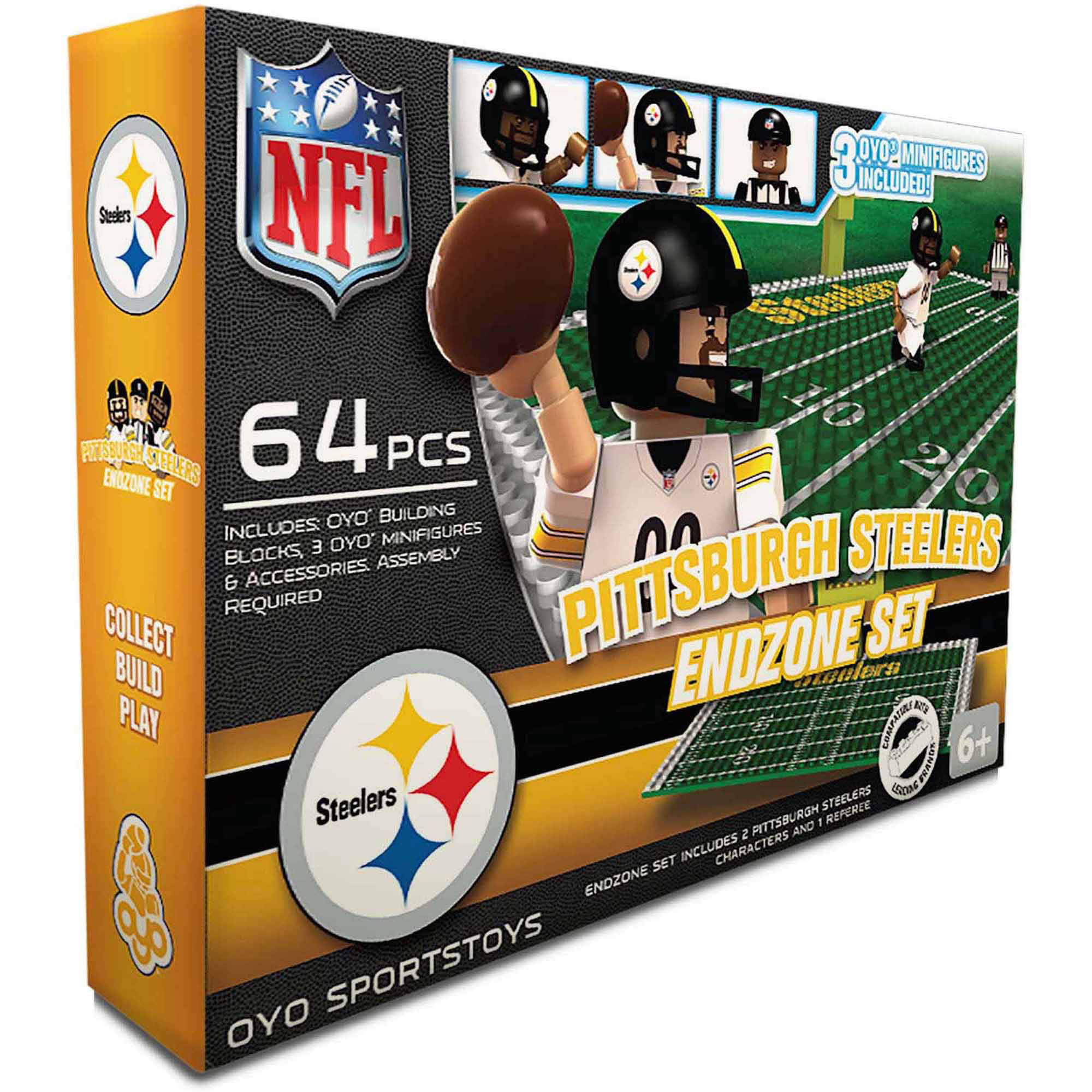 OYO Sports 64-Piece NFL End Zone Building Block Set, Pittsburgh Steelers