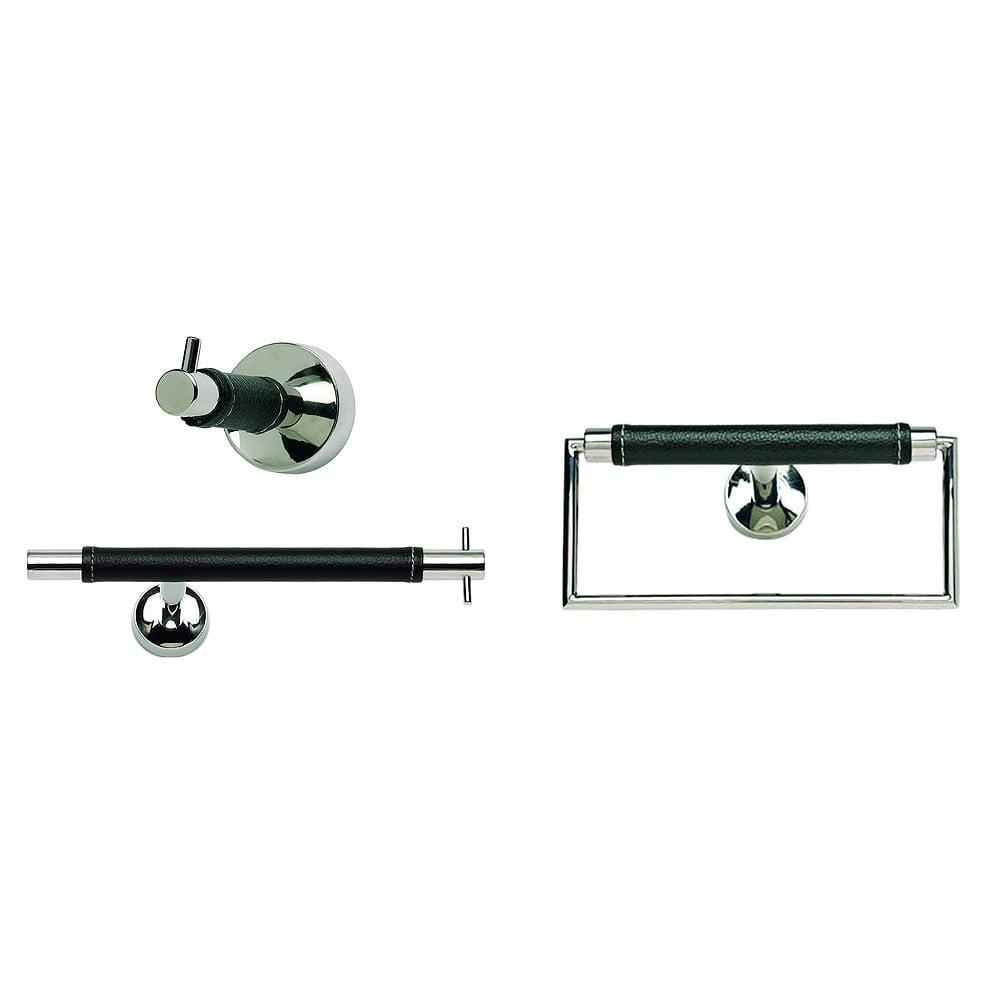 Atlas Homewares Atlas Zanzibar Chrome (Grey)/ Black Leather 3-piece Bathroom Accessory Set (Zanzibar 3Pc Chrome Set: TP Bar, Ring & Hook) (Stainless Steel), AST-Z3-BL-CH