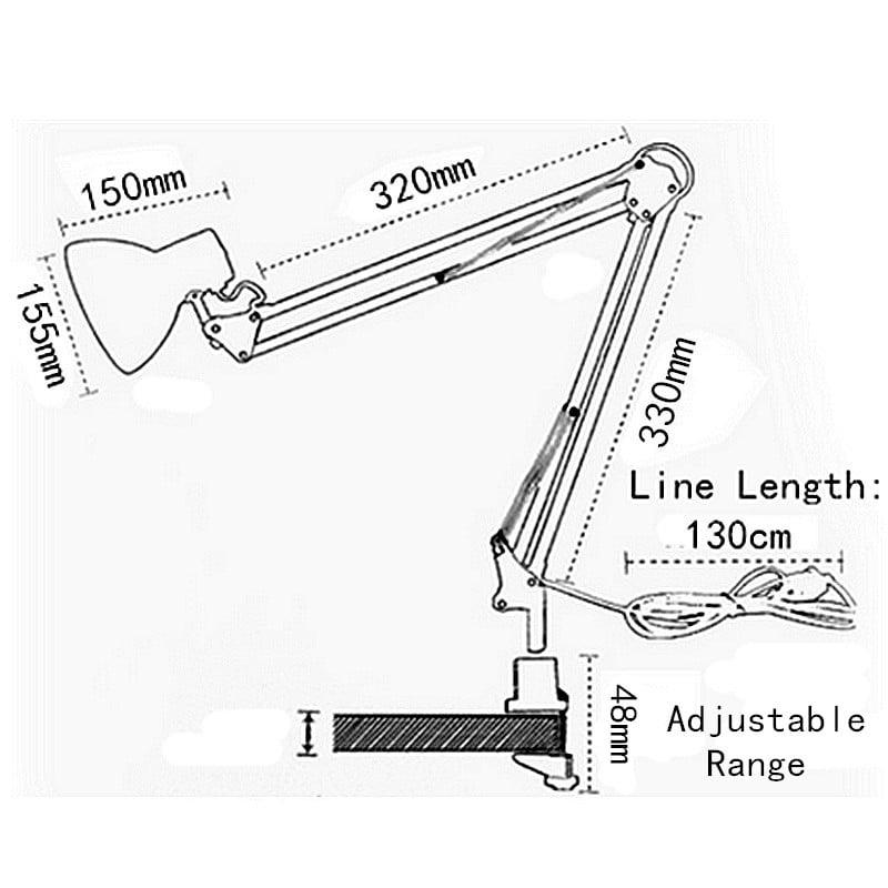 Adjustable Swing Arm Desk Light Drafting Design Office Studio Clamp