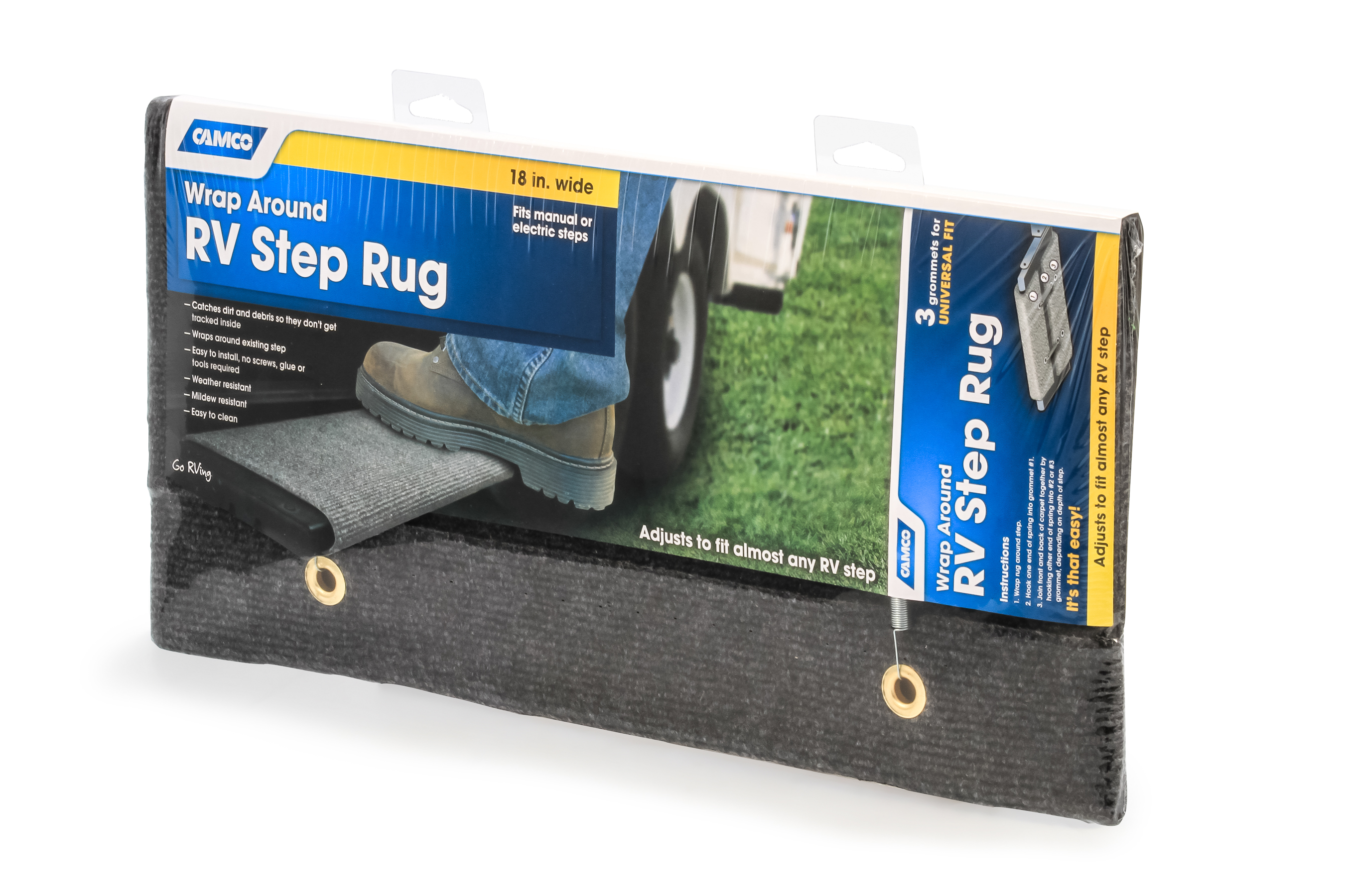 Camco 42924 Wrap Around Rv Step Rug 18 Wide Protects Your From Unwanted Tracked In Dirt Works On Electrical Manual Steps Blue