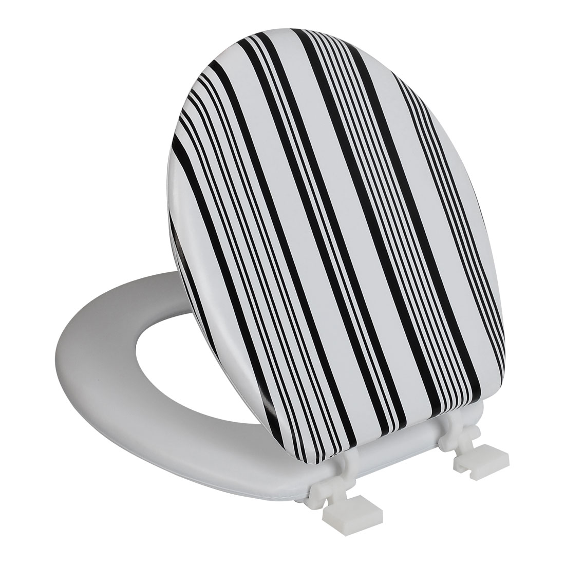 Bathroom Faux Leather Stripe Pattern Soft Toilet Seat