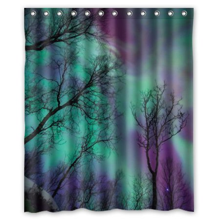 HelloDecor Northern Lights Shower Curtain Polyester Fabric Bathroom Decorative Curtain Size 60x72 Inches