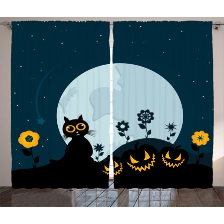 Halloween Decorations Curtains 2 Panels Set, Cute Cat Moon on Floral Field with Starry Night Sky Star Cartoon Art, Window Drapes for Living Room Bedroom, 108W X 84L Inches, Blue Black, by Ambesonne