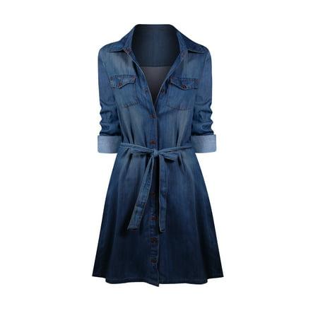 Women's A-Line Button up Relaxed Fit Denim Dress - Moon Dress Up