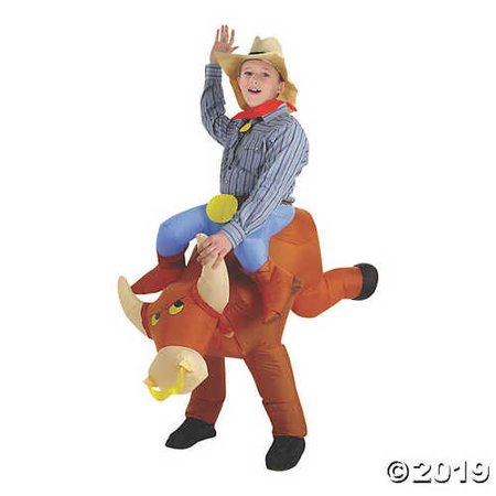 UHC Boy's Inflatable Bull Rider Outfit Toddler Kids Halloweem Costume, (80's Halloween Outfits)