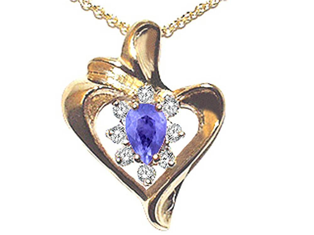 Tommaso Design Pear Shape 6x4mm Genuine Tanzanite Heart Shaped Pendant Necklace by