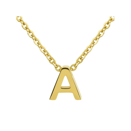 "ELYA 18k Polished Initial Gold Overlay Pendant Necklace (18"") - Letter A"