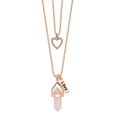 "Rose Quartz Two Layer ""Love"" & Crystal Heart Charm Necklace"