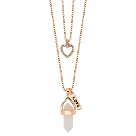 Rose Quartz Cross Necklace - Believe By Brilliance 14kt Rose Gold Flash Plated Rose Quartz Two Layer Necklace with