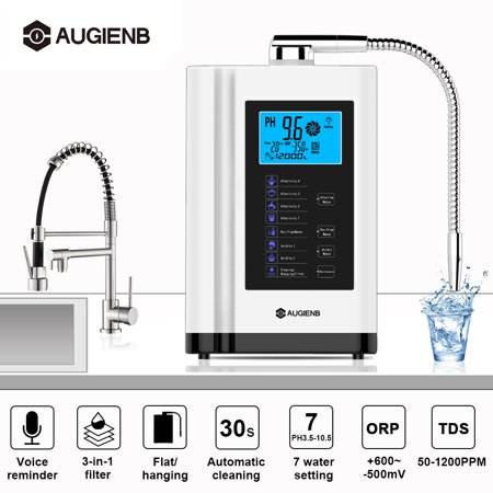 Water Ionizer Purifier Machine, AUGIENB 7 Water Settings Alkaline Acid Machine PH 3.5-10.5 / Up to -500mV ORP / 6000 Liters Per Filter / Auto Cleaning Water Purifier/ Touch