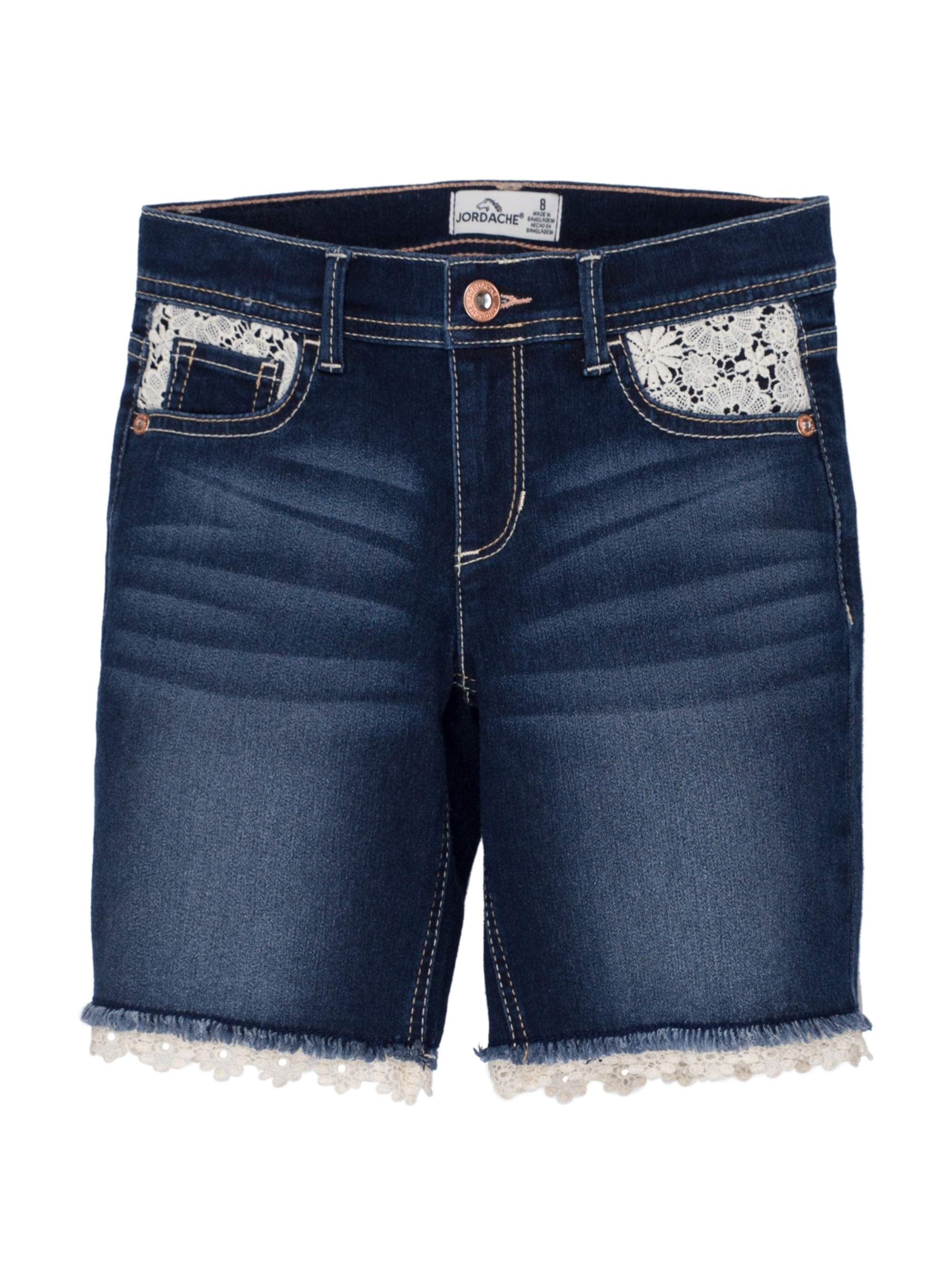 Crochet Hem Denim Bermuda Short (Little Girls & Big Girls)