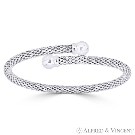 Bypass Cuff (7.2mm Ball Bead & 4.5mm Popcorn Link Cuff Bypass Bangle in .925 Sterling)