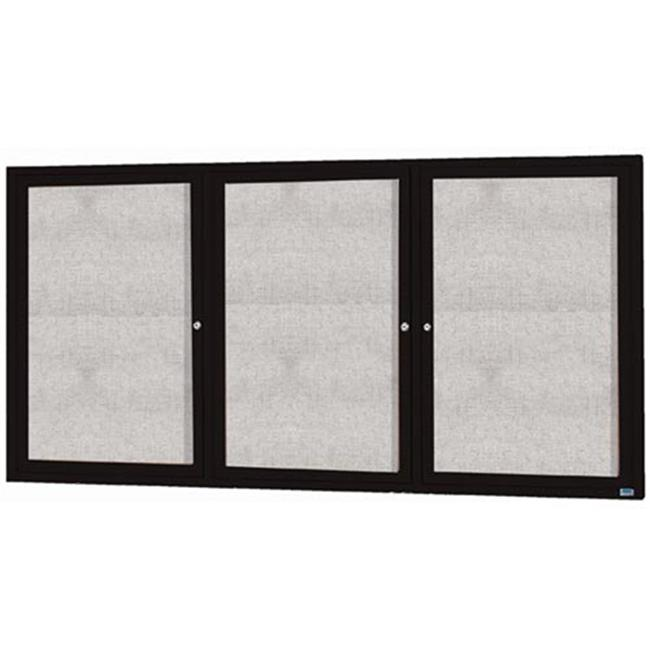 Aarco Products 3-Door Outdoor Enclosed Bulletin Board Aluminum Frame