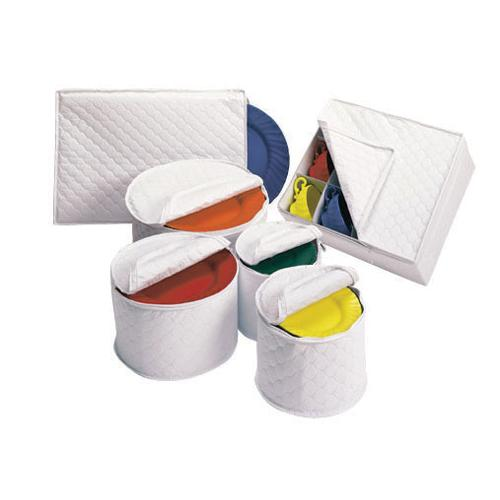 DELUXE QUILTED CHINA STORAGE White/Vinyl Cup Chest with Heavy Dividers