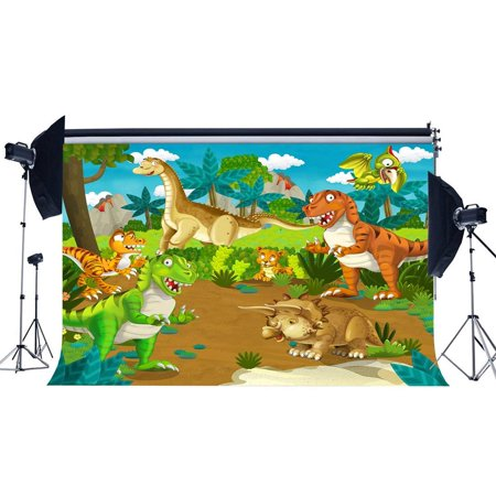 ABPHOTO Polyester 7x5ft Dinosaur Backdrop for Photography Zoo Trees Green Grass Meadow Blue Sky White Cloud Cartoon Background Sweet Baby Shower Boys Kids Happy Birthday Party Photo Studio Props